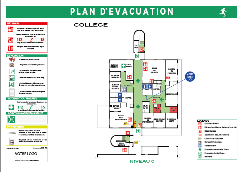 plan d'evacuation nf x 08-070